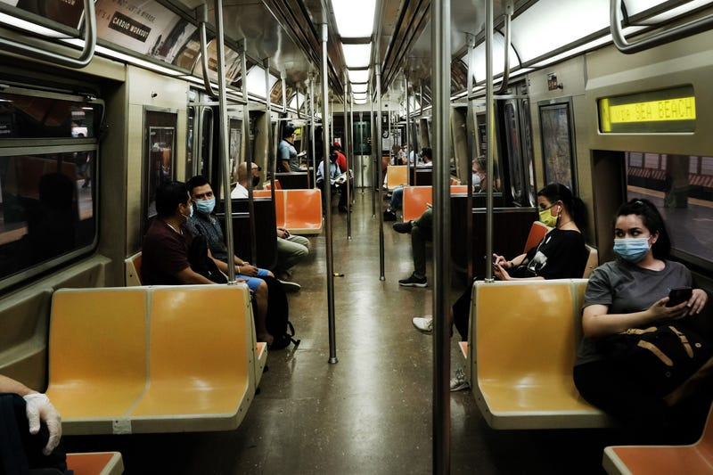People ride a nearly empty Manhattan subway on August 26, 2020 in New York City.