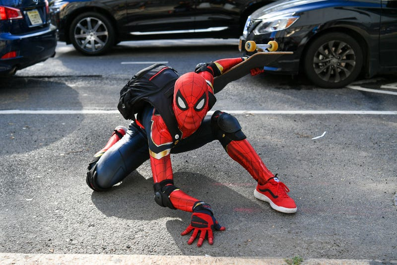 Spider-Man poses outside of New York Fashion Week: The Shows at Spring Studios on September 13, 2020 in New York City.