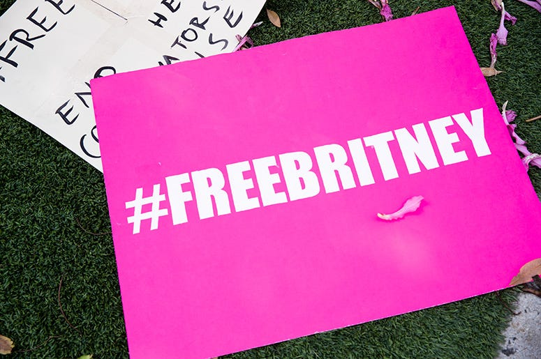 Signs in support of Britney Spears