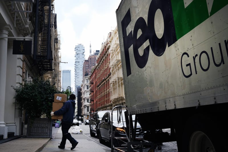 A FedEx truck makes deliveries in Manhattan on September 17, 2020 in New York City.