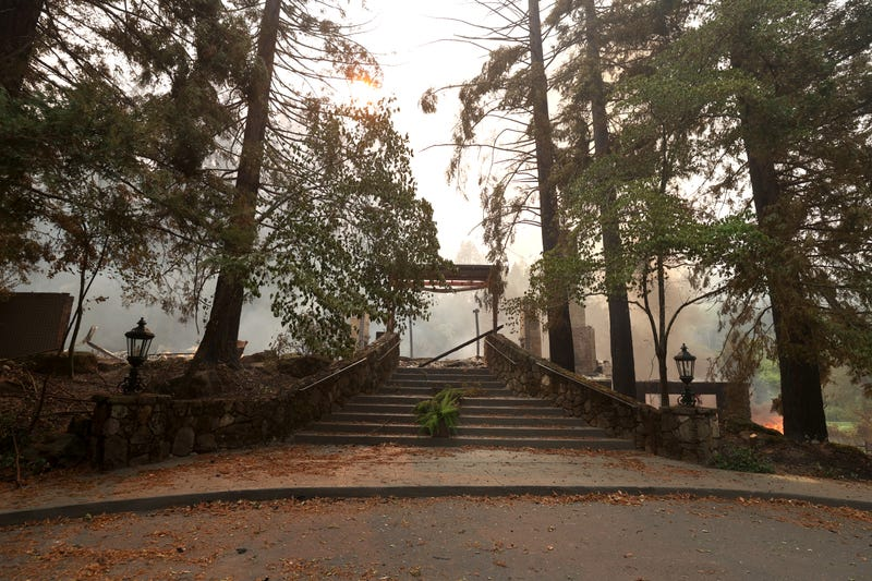 A stairway leads to the destroyed main building and restaurant at Meadowood Napa Valley luxury resort after the Glass Incident Fire moved through the area on September 28, 2020 in St. Helena, California.