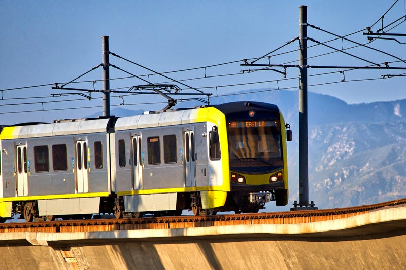 Los Angeles Metro Gold L Line train - stock photo