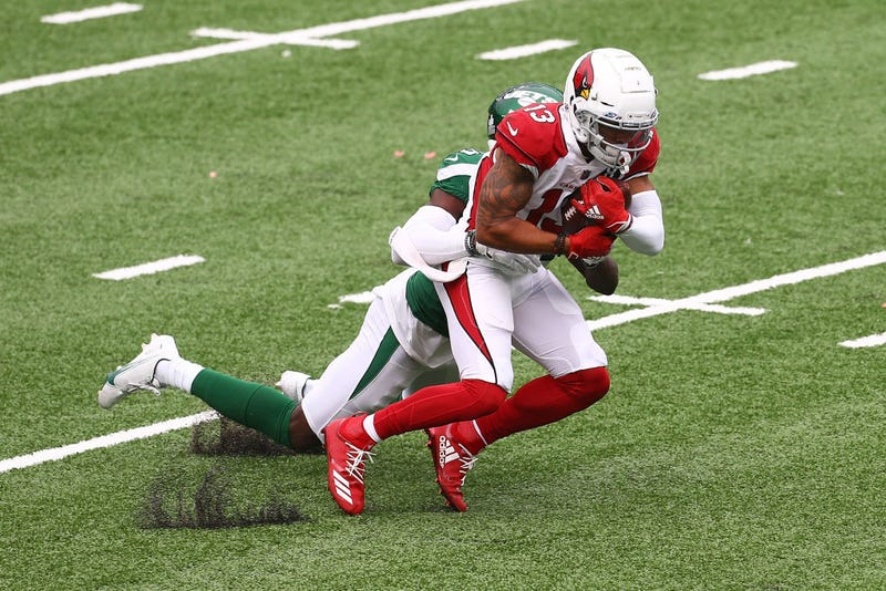 Christian Kirk gets tackled against the Jets.