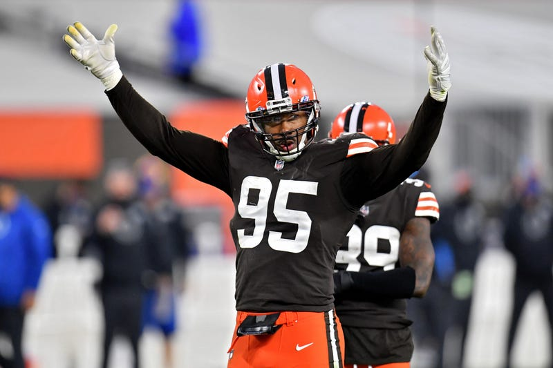 Myles Garrett of the Cleveland Browns pumps up the crowd in the fourth quarter against the Indianapolis Colts