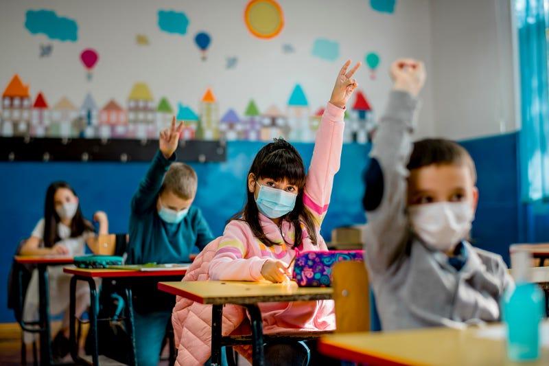 Masked schoolkids