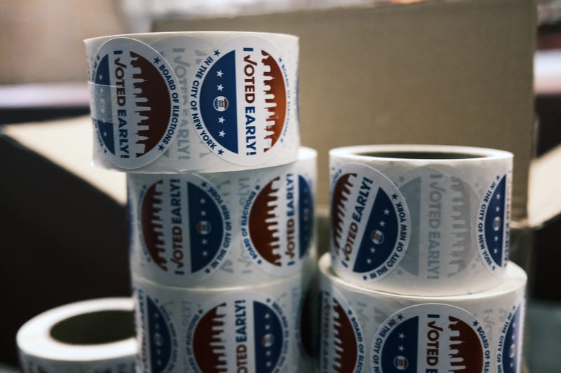 'I voted early' stickers sit on a table at the Brooklyn Armory during early voting on October 28, 2020 in New York City.
