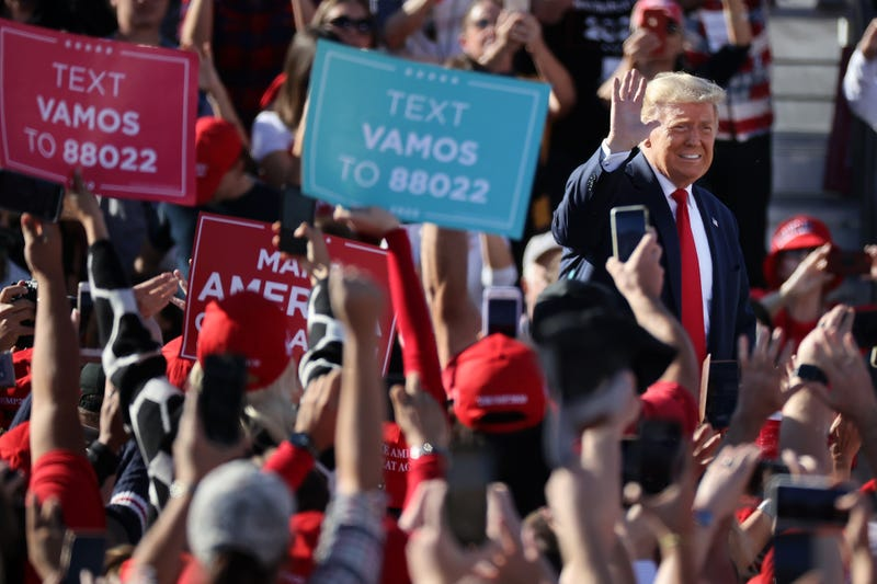 U.S. President Donald Trump arrives for a campaign rally at Phoenix Goodyear Airport October 28, 2020 in Goodyear, Arizona. With less than a week until Election Day, Trump and his opponent, Democratic presidential nominee Joe Biden, are campaigning across the country.