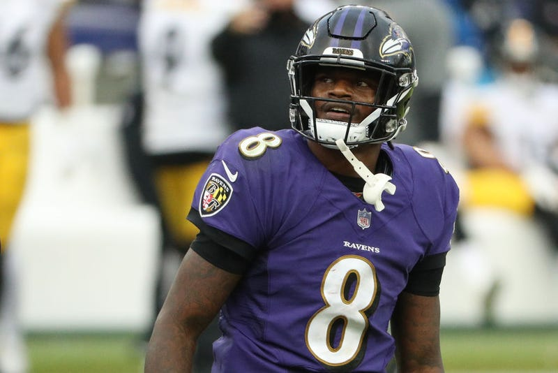 Lamar Jackson looks toward the stands against the Steelers.