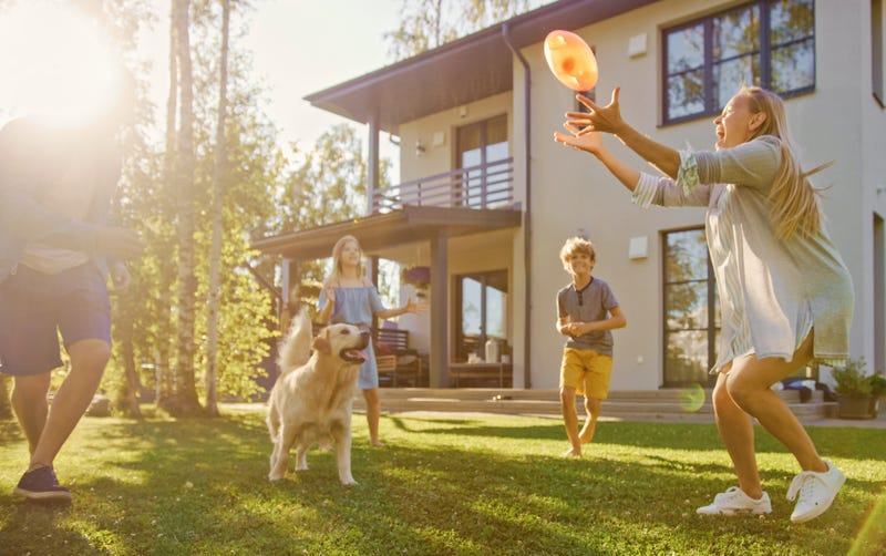 Family of Four Play Catch Toy Ball with Happy Golden Retriever Dog on the Backyard Lawn