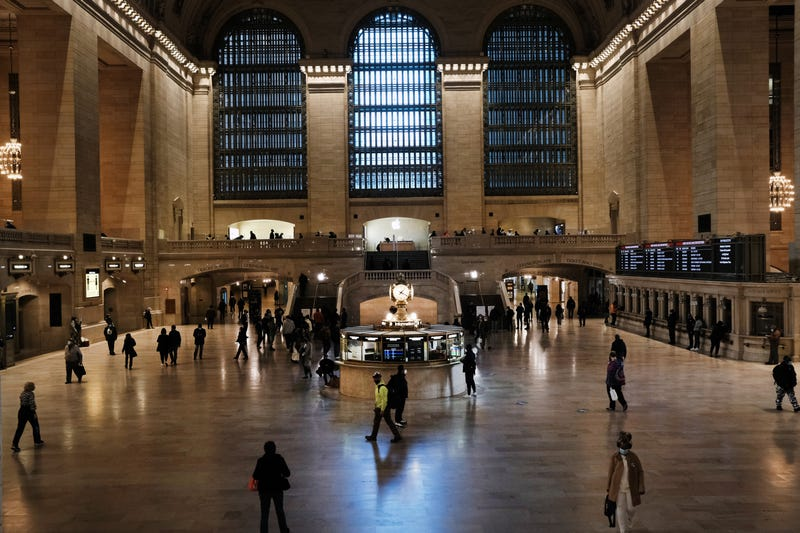 People walk through Grand Central Terminal in Manhattan as New York City tries to contain a spike in COVID-19 cases on November 16, 2020 in New York City.