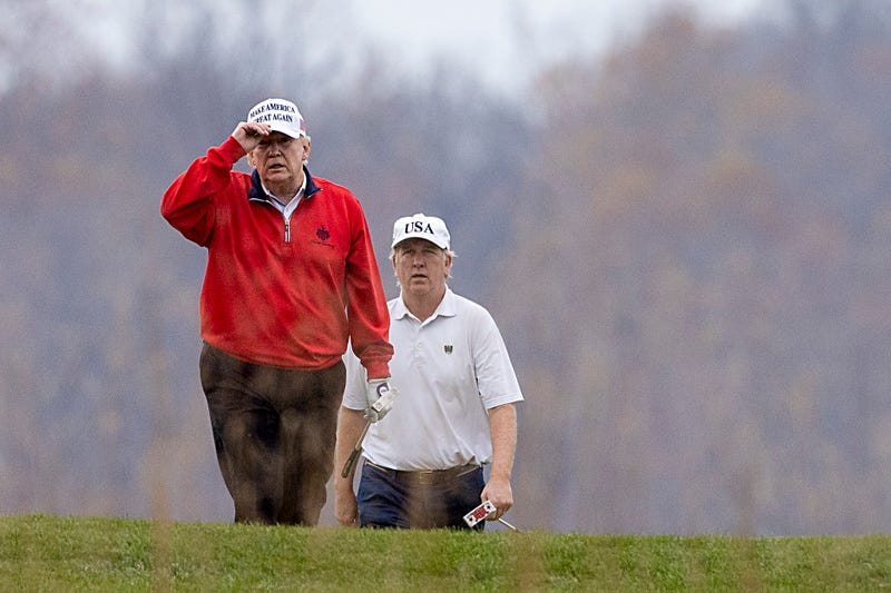 President Donald Trump golfs at Trump National Golf Club on November 21, 2020 in Sterling, Virginia.