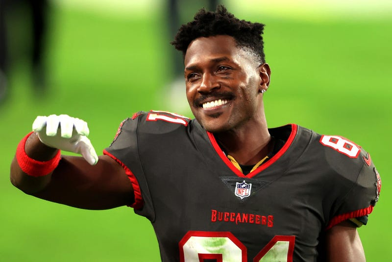Antonio Brown smiles during Monday night's Buccaneers-Rams game.