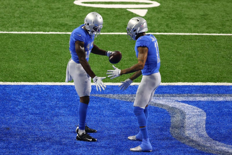 Mohamed Sanu and Marvin Jones celebrate after Sanu's touchdown.