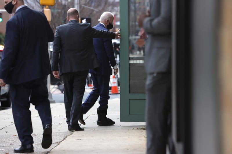 President-elect Joe Biden, wearing a walking boot due to hairline fractures after he strained his ankle playing with his dog Major, arrives at the Queen Theater to name his economic team on December 1, 2020 in Wilmington, Delaware. Biden is nominating and appointing key positions of the team, including Janet Yellen to be Secretary of the Treasury.