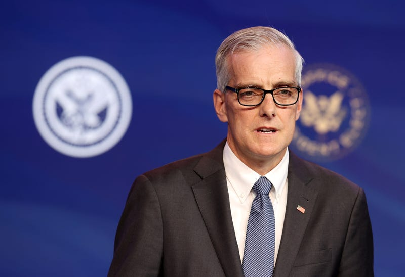 Former Obama White House Chief of Staff Denis McDonough delivers remarks after being introduced as U.S. President-elect Joe Biden's nominee to head the Department of Veterans Affairs at the Queen Theater on December 11, 2020 in Wilmington, Delaware.