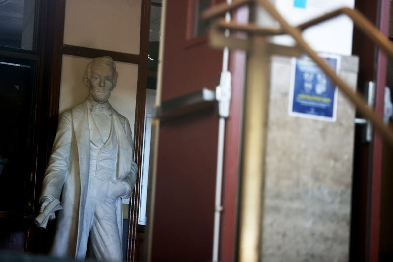 A statue of Abraham Lincoln stands inside of Abraham Lincoln High School on December 17, 2020 in San Francisco, California.
