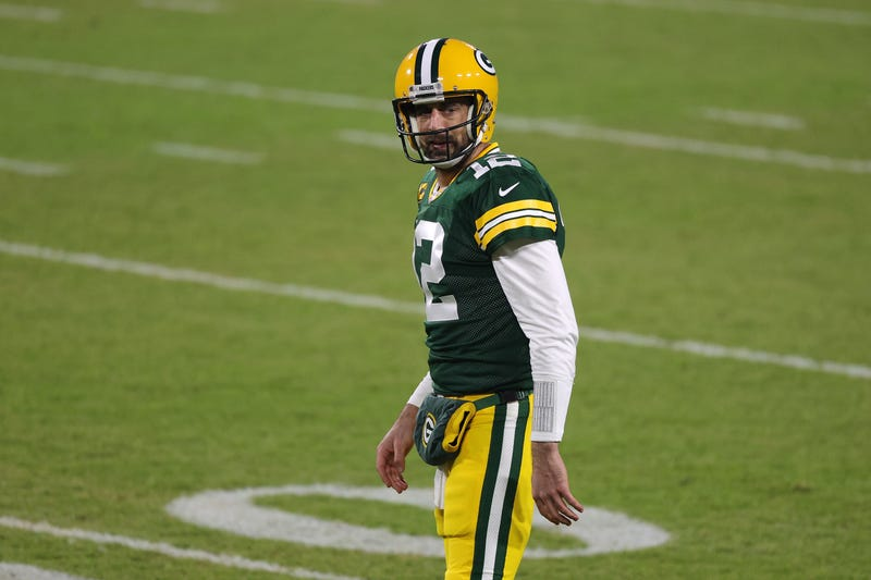 Green Bay Packers quarterback Aaron Rodgers on the field.