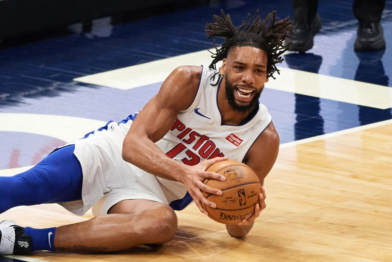 Jahil Okafor corrals a loose ball for the Pistons.