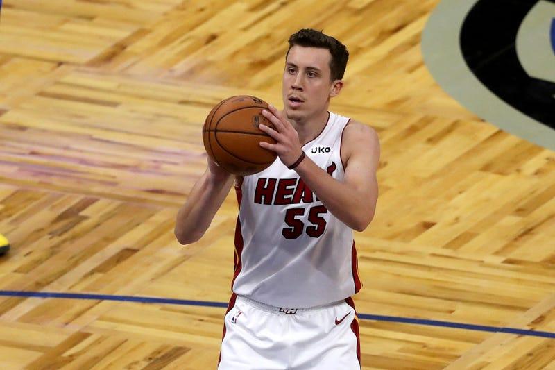 Miami Heat forward Duncan Robinson shoots a free throw.