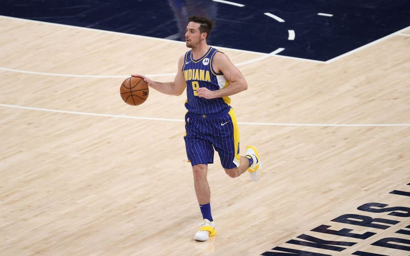 T.J. McConnell dribbles up the court for the Pacers.