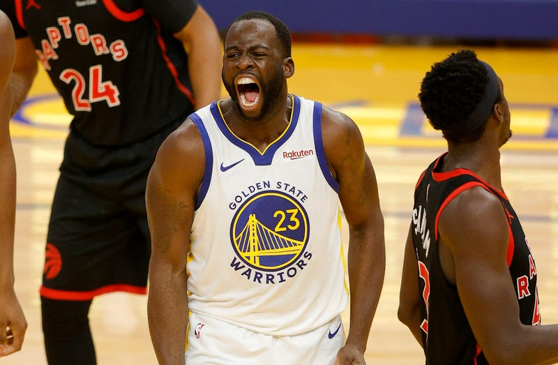 Warriors forward Draymond Green pumped up on the court.