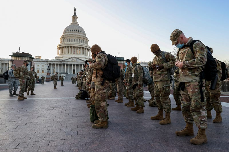 Members of the U.S. National Guard arrive at the U.S. Capitol on January 12, 2021 in Washington, DC. The Pentagon is deploying as many as 15,000 National Guard troops to protect President-elect Joe Biden's inauguration on January 20, amid fears of new violence.