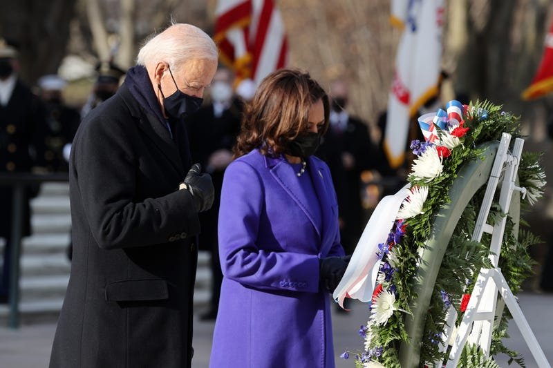 U.S. President Joe Biden and Vice President Kamala Harris attend a wreath-laying ceremony at Arlington National Cemetery's Tomb of the Unknown Soldier after the 59th Presidential Inauguration ceremony at the U.S. Capitol January 20, 2021 in Arlington, Virginia. During today's inauguration ceremony Joe Biden becomes the 46th president of the United States.