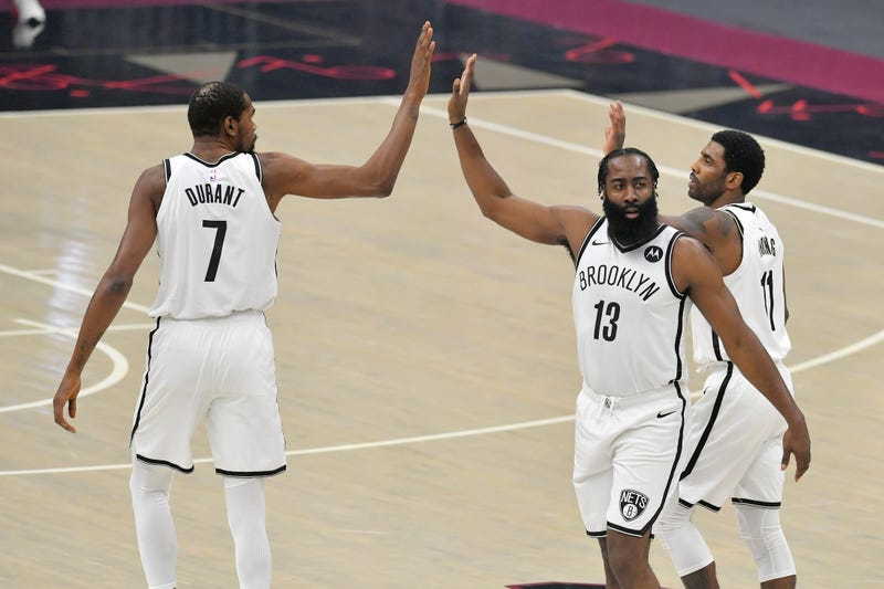 Nets stars Kevin Durant, James Harden, and Kyrie Irving.