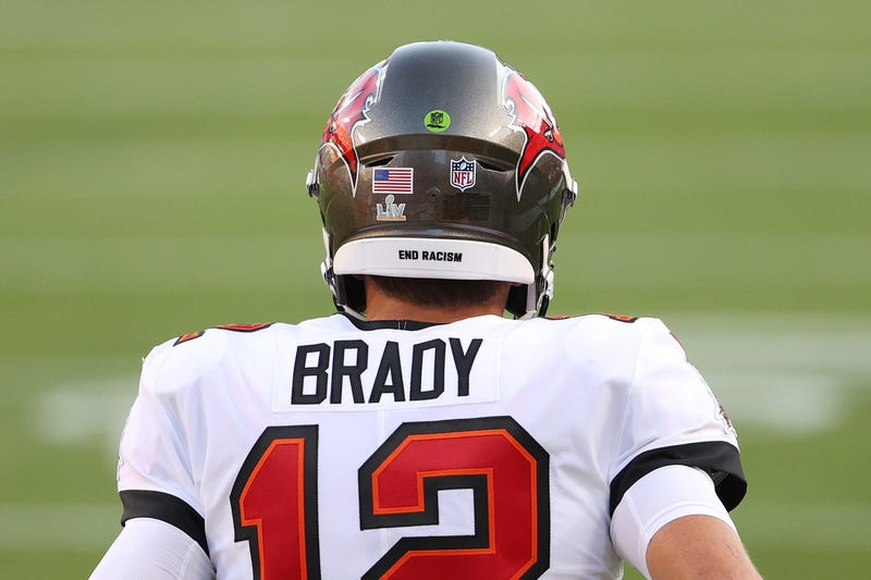 Tampa Bay Buccaneers quarterback Tom Brady on the field during Super Bowl 55.