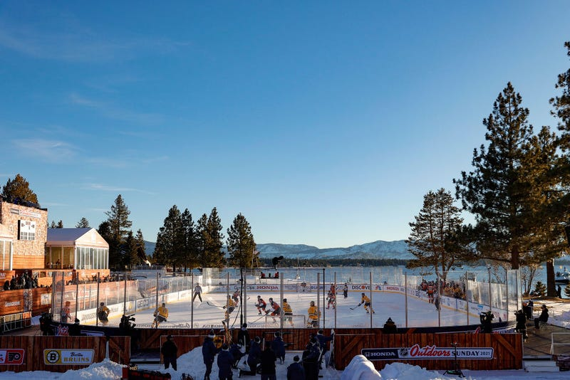 Bruins vs. Flyers with Lake Tahoe in the background