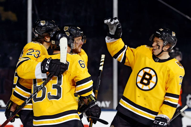 The Bruins celebrate a goal