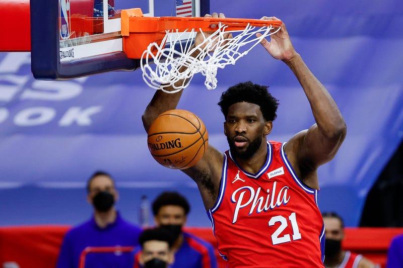 Sixers center-forward Joel Embiid dunks during the fourth quarter against the Utah Jazz at Wells Fargo Center on March 03, 2021 in Philadelphia, Pennsylvania.