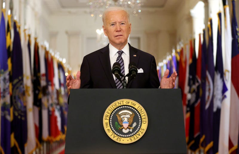 President Joe Biden speaks as he gives a primetime address to the nation from the East Room of the White House March 11, 2021 in Washington, DC.