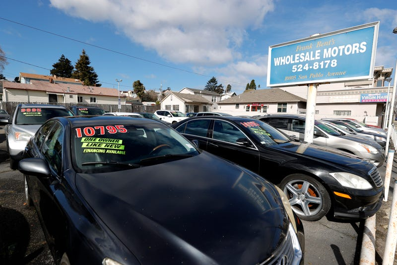 Used cars sit on the lot at El Cerrito, California.
