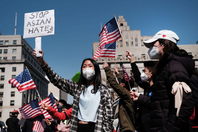 People participate in a protest to demand an end to anti-Asian violence on April 04, 2021 in New York City.