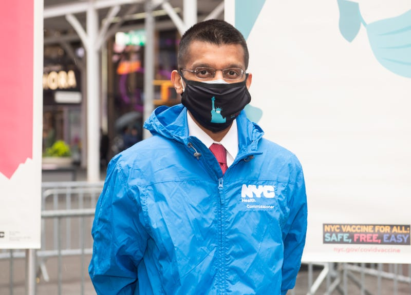 Commissioner of the New York City Department of Health and Mental Hygiene Dr. Dave A. Chokshi attends the opening of a vaccination center for Broadway workers in Times Square on April 12, 2021 in New York City.