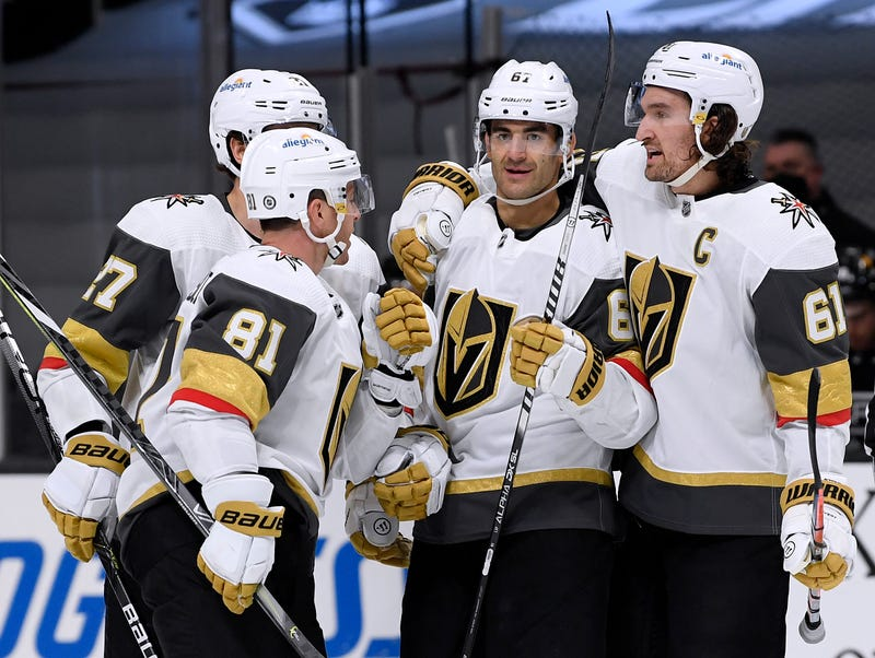Max Pacioretty #67 of the Vegas Golden Knights celebrates his goal with Mark Stone #61, Jonathan Marchessault #81 and Shea Theodore #27, to take a 4-2 lead over the Los Angeles Kings,during the third period in a 4-2 Knights win at Staples Center on April 12, 2021 in Los Angeles, California.