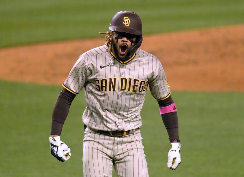 Padres shortstop Fernando Tatis celebrates a home run.