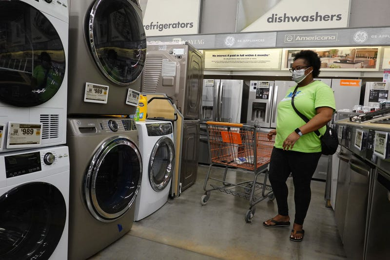 A customer in the appliance department at a Home Depot store