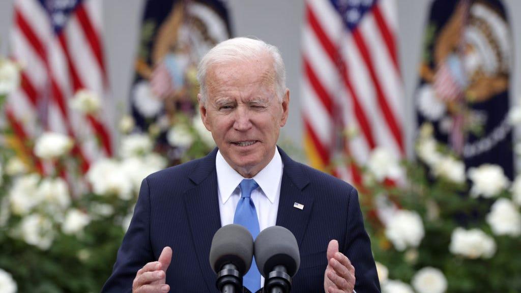 Joe Biden swats cicada off neck: 'It got me'