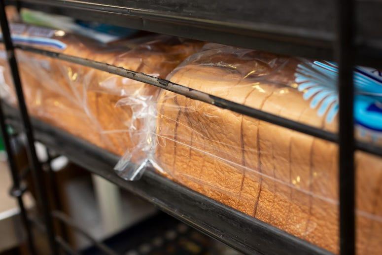 Bread in rack in grocery store
