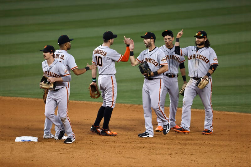 San Francisco Giants celebrate a recent win at Dodger Stadium.