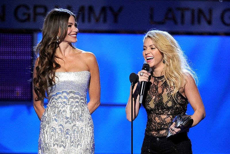 Actress Sofia Vergara (L) presents singer Shakira with the Person of the Year Award onstage during the 12th annual Latin GRAMMY Awards at the Mandalay Bay Events Center on November 10, 2011 in Las Vegas, Nevada.