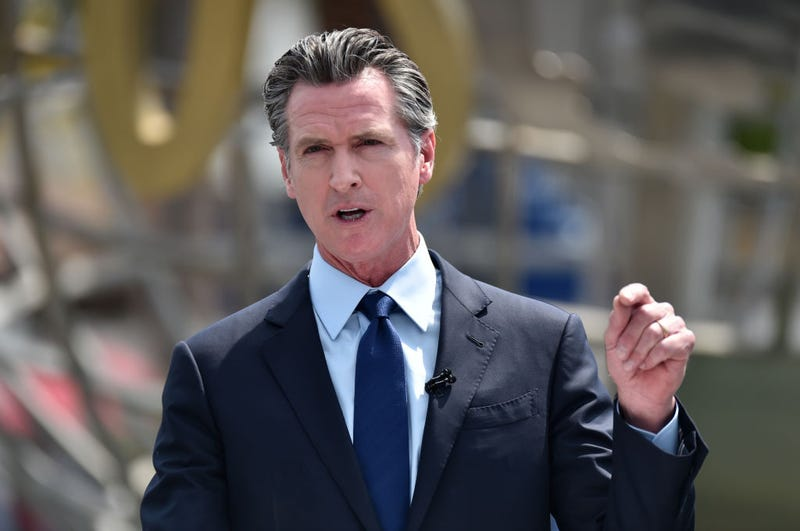 California Governor Gavin Newsom holds a press conference for the official reopening of the state of California at Universal Studios Hollywood on June 15, 2021 in Universal City, California.