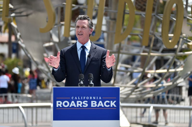 California Governor Gavin Newsom's press conference for the official reopening of the state of California at Universal Studios Hollywood on June 15, 2021 in Universal City, California. (Photo by Alberto E. Rodriguez/Getty Images)