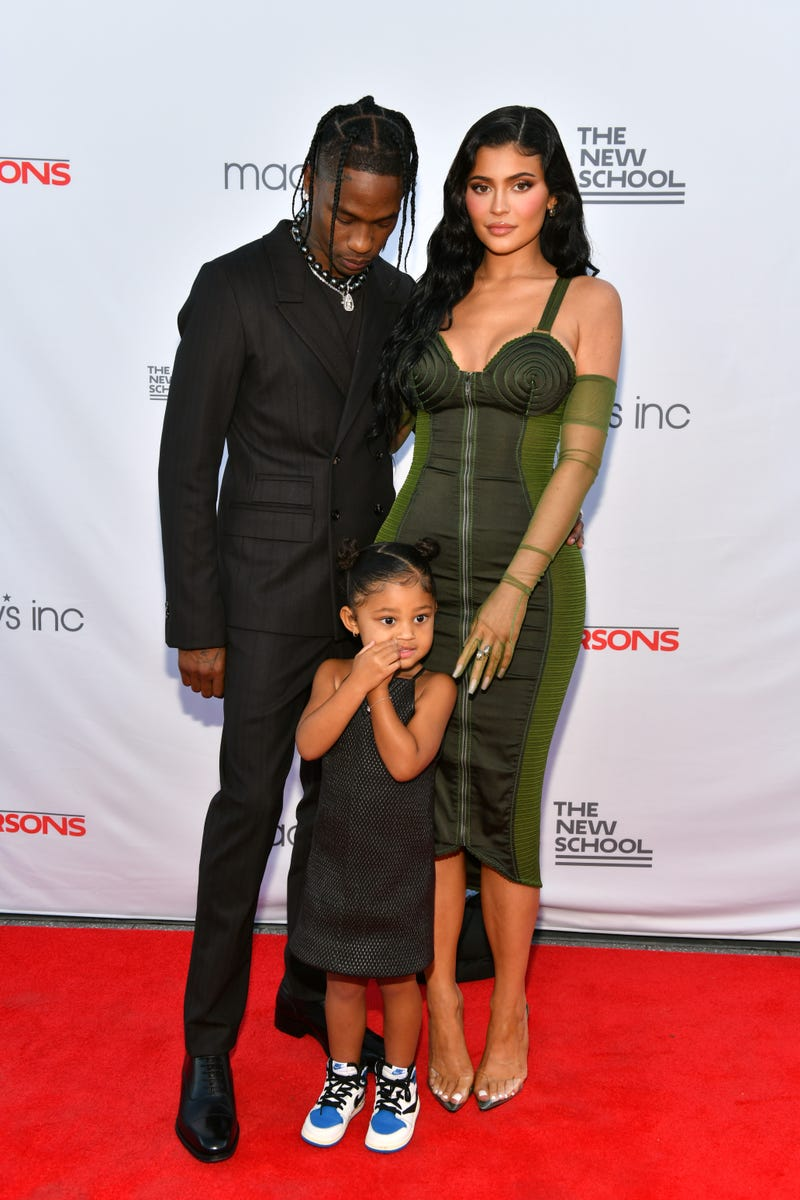 Travis Scott, Kylie Jenner, and Stormi Webster attend the The 72nd Annual Parsons Benefit
