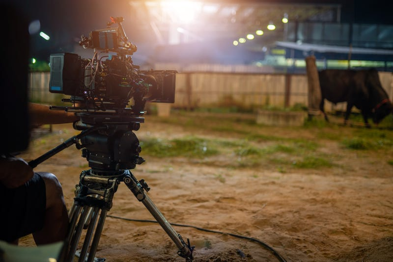 The film set camera and lighting on set