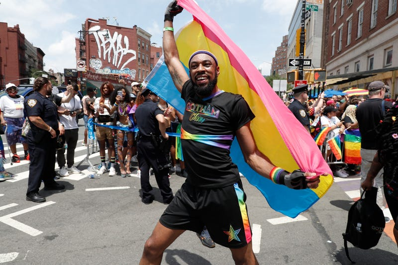 Parade participants celebrate New York City Pride on June 27, 2021 in New York City