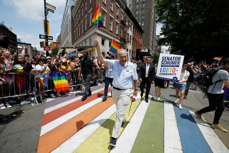 Senate Majority Leader Chuck Schumer attends New York City Pride on June 27, 2021 in New York City
