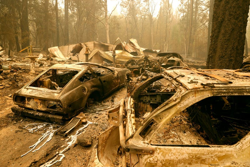 Destruction from the Dixie Fire, currently the biggest wildfire in Northern California.